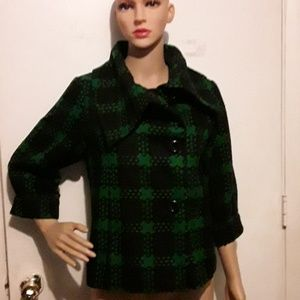 NWT- Grace Elements green and black plaid jacket